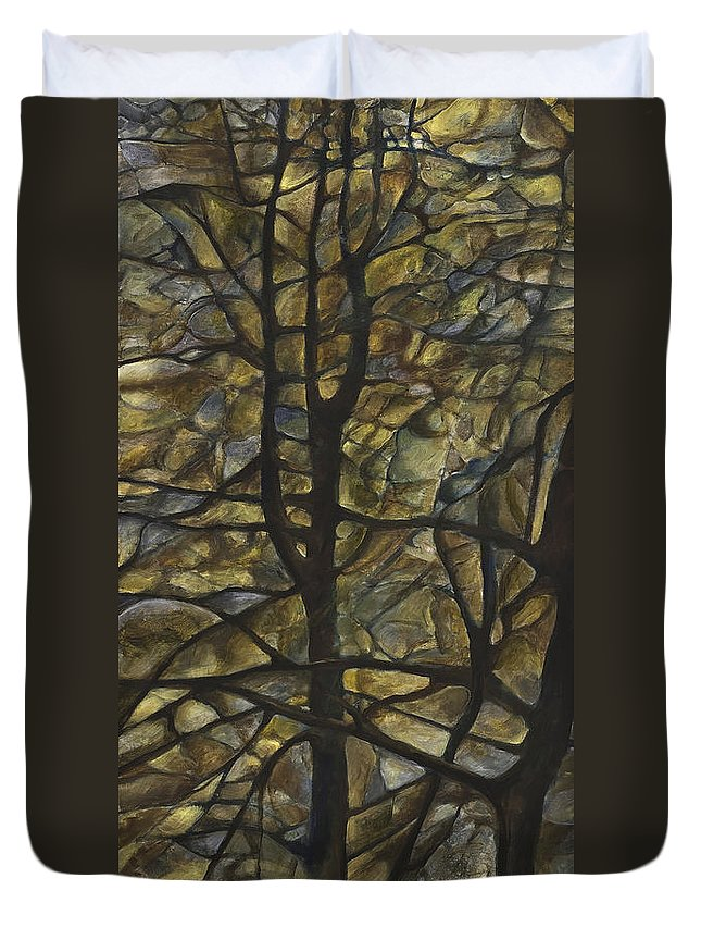 Landscapes Duvet Cover featuring the painting Mellow Tree by Francine Mabie