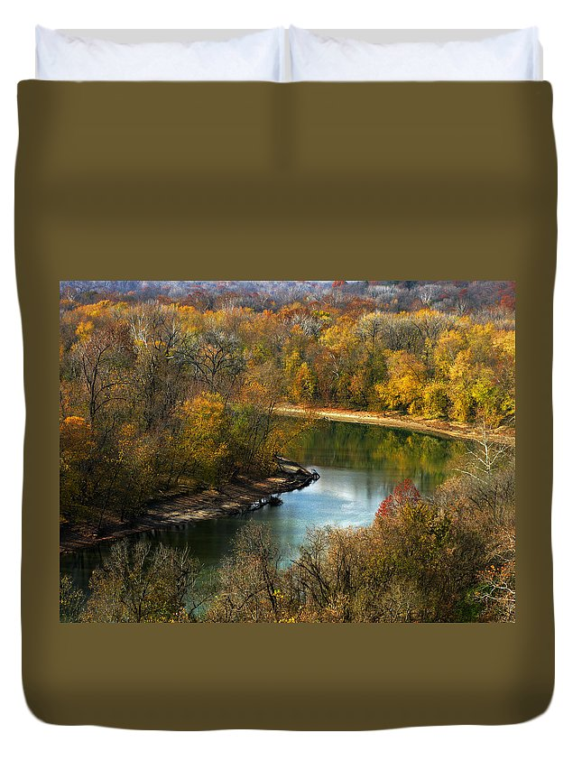 This Photograph Captures The Scenic Beauty Of The Meramec River In Late Autumn Duvet Cover featuring the photograph Meramec River Bend At Castlewood State Park by Greg Matchick
