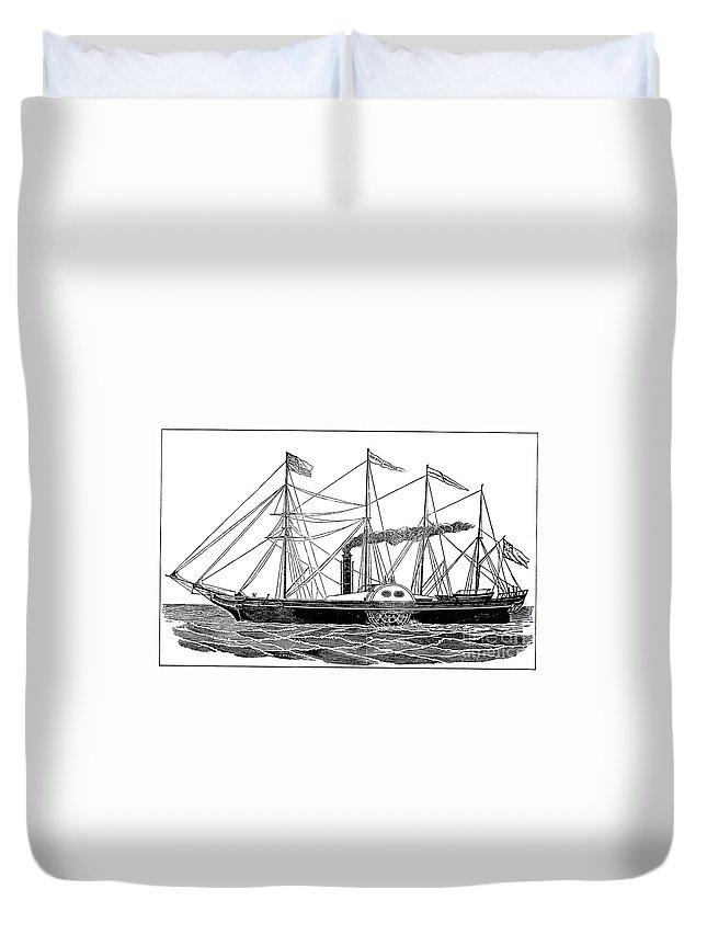 1838 Duvet Cover featuring the photograph Merchant Steamship, 1838 by Granger