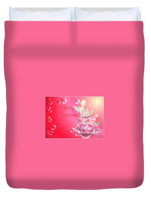 Cherub Duvet Cover featuring the photograph Merry Christmas Cherub And Rose by Joyce Dickens