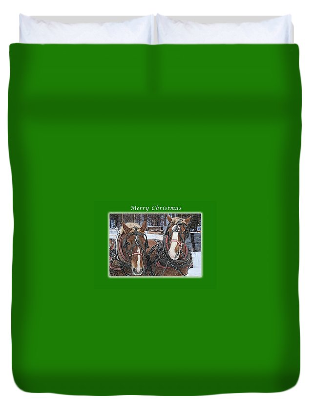 Horse Duvet Cover featuring the photograph Merry Christmas Horses At Sawmill by Michael Peychich