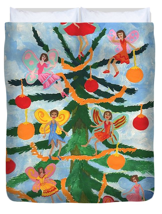 Fairy Duvet Cover featuring the painting Merry Christmas Tree Fairies In Progress by Sushila Burgess
