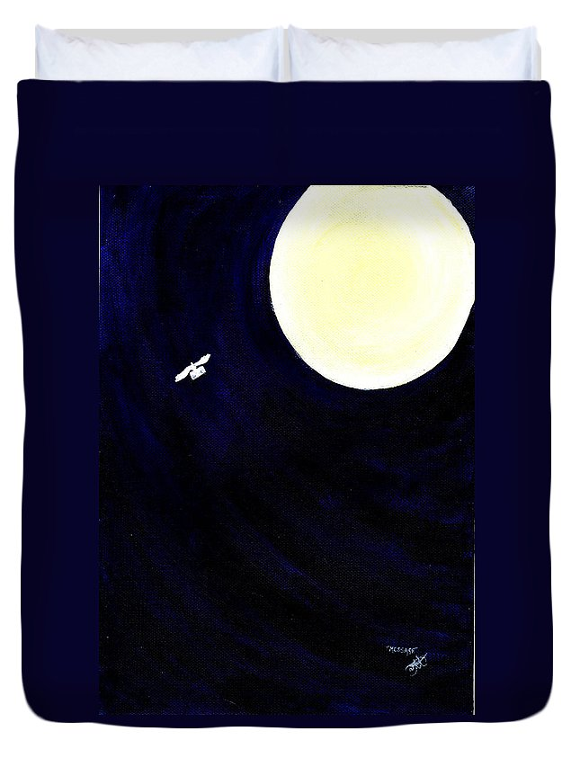 Moonlight Duvet Cover featuring the painting Message by Catt Kyriacou