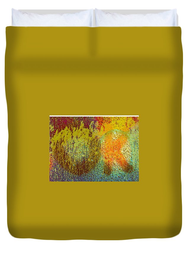 Abstract Duvet Cover featuring the photograph Message Written On Grass by Lenore Senior