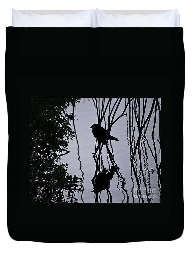 Pond Duvet Cover featuring the photograph Messy Pond Reflection by Diego Re