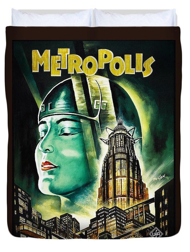 Metropolis Duvet Cover featuring the digital art Metropolis Poster by Bill Cannon