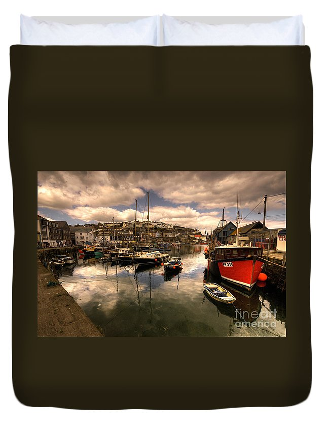 Mevagissy Duvet Cover featuring the photograph Mevagissy Harbour by Rob Hawkins