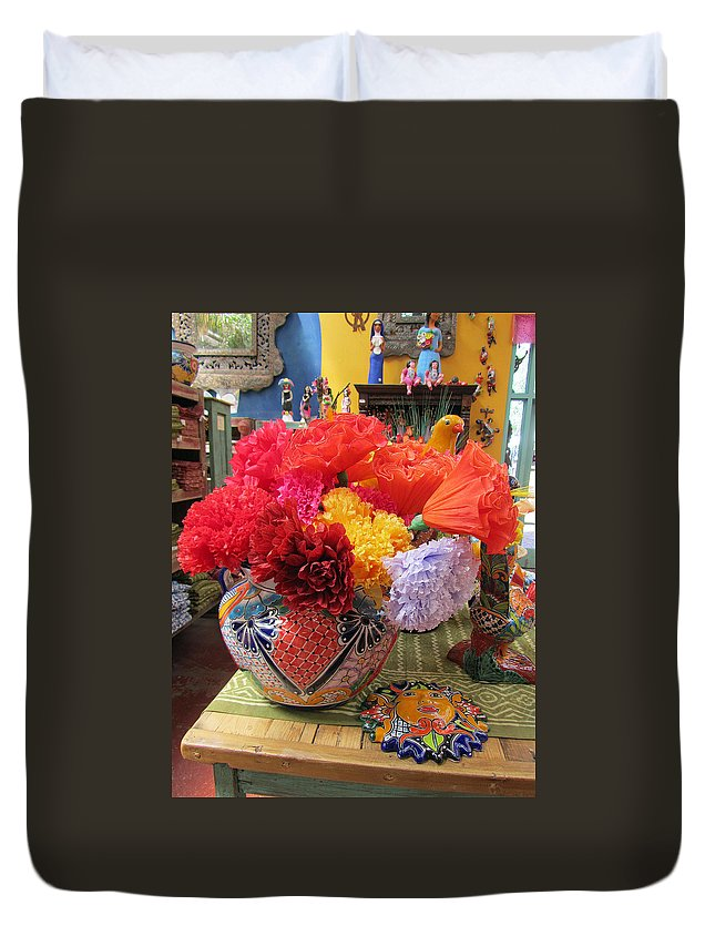 Mexican paper flowers and talavera pottery duvet cover for sale by mexican duvet cover featuring the photograph mexican paper flowers and talavera pottery by elizabeth rose mightylinksfo