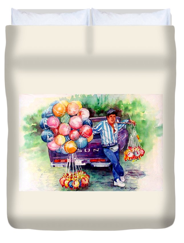 Mexico Paintings Duvet Cover featuring the painting Mexico-globero by Estela Robles