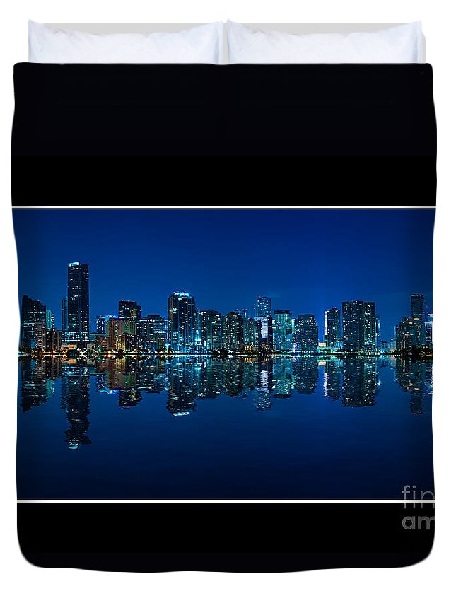 Bay Duvet Cover featuring the photograph Miami Skyline Night Panorama by Carsten Reisinger