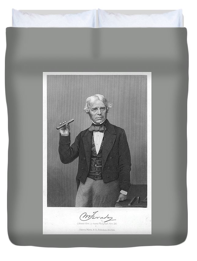 19th Century Duvet Cover featuring the photograph Michael Faraday (1791-1867) by Granger
