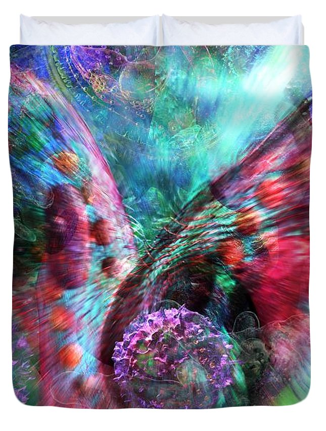 Abstract Duvet Cover featuring the digital art Microscope Dreaming 3 by Russell Kightley