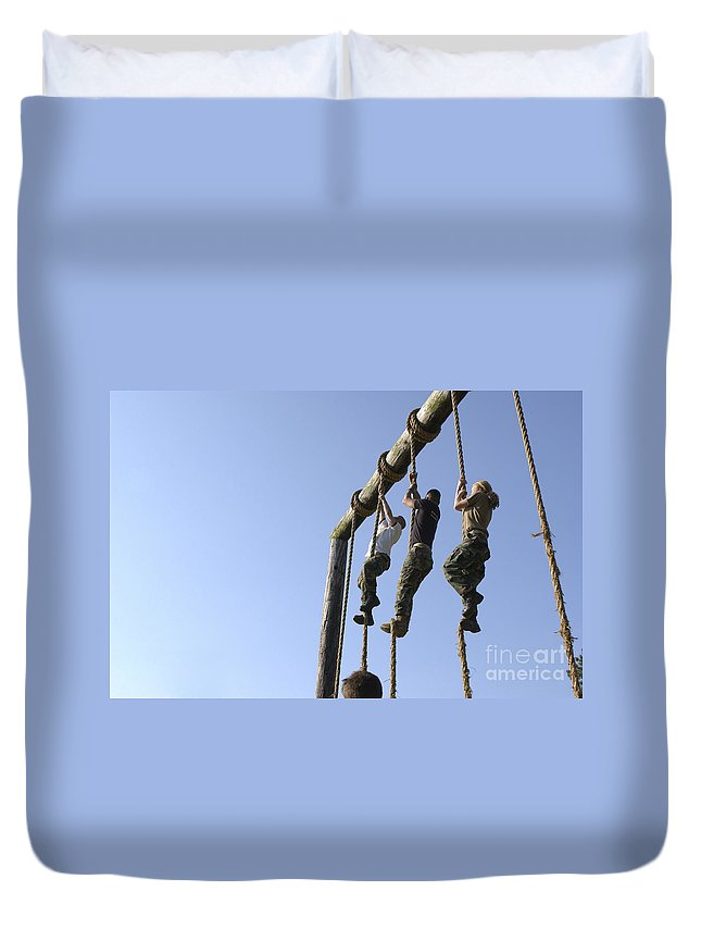 Midshipmen Duvet Cover featuring the photograph Midshipmen Tackle The Ropes Portion by Stocktrek Images