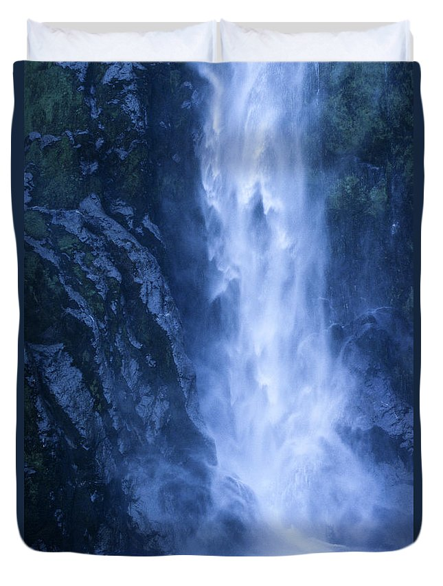 Bronstein Duvet Cover featuring the photograph Milford Sound New Zealand by Sandra Bronstein