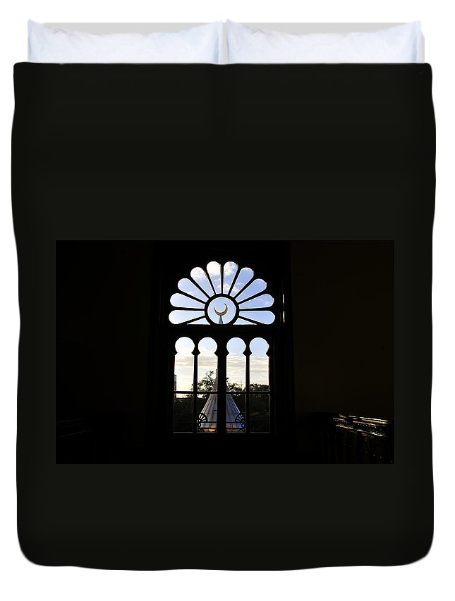 Fine Art Photography Of One Of The University Of Tampa's Famous Minarets Seen Through A Beautuful Window Built In 1880 Duvet Cover featuring the photograph Minaret Through Window by David Lee Thompson