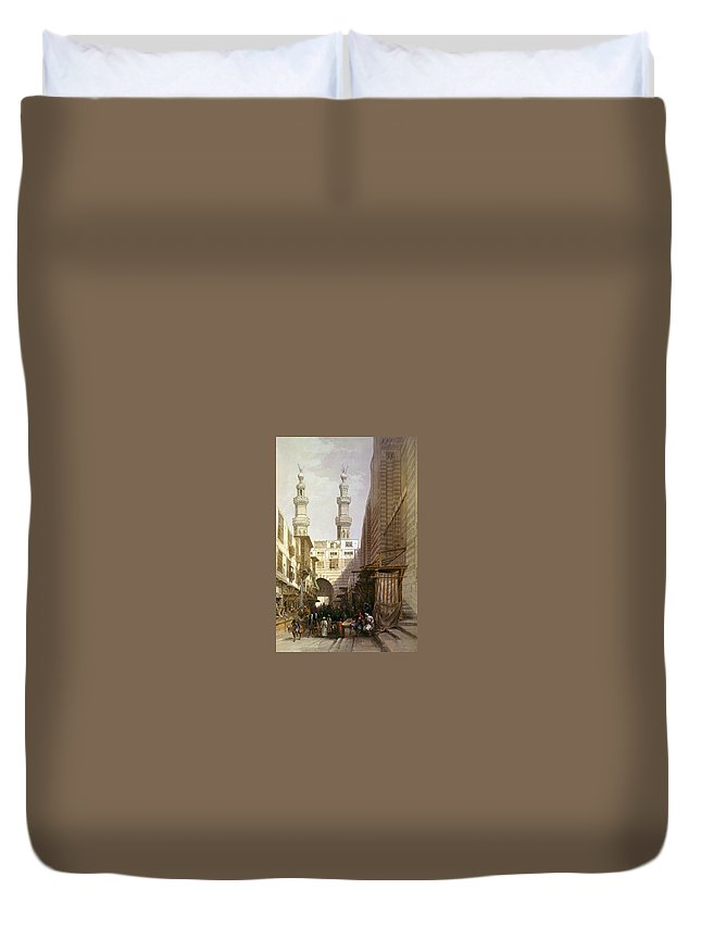 Cairo Duvet Cover featuring the photograph Minarets And Grand Entrance Of The Metwaleys At Cairo by Munir Alawi