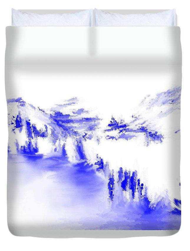 Fine Art Duvet Cover featuring the digital art Minimal Landscape Monochrome In Blue 111511 by David Lane