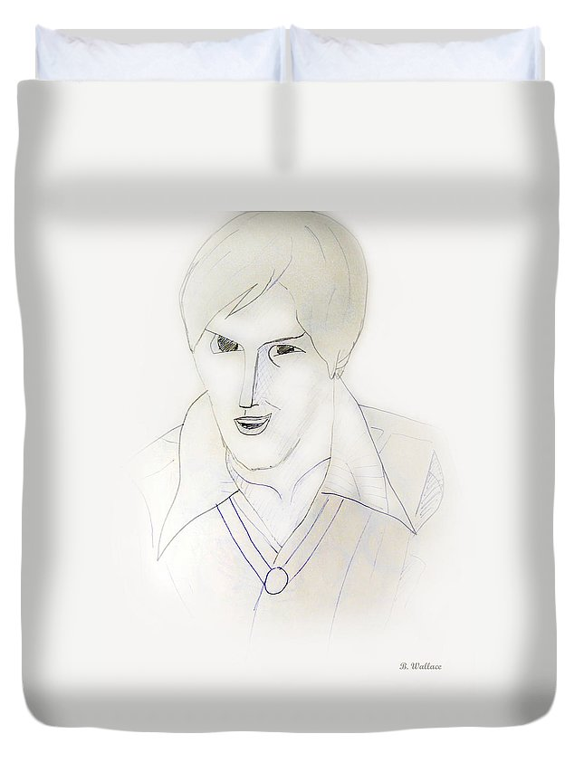 2d Duvet Cover featuring the drawing Minimalism - Young Man by Brian Wallace