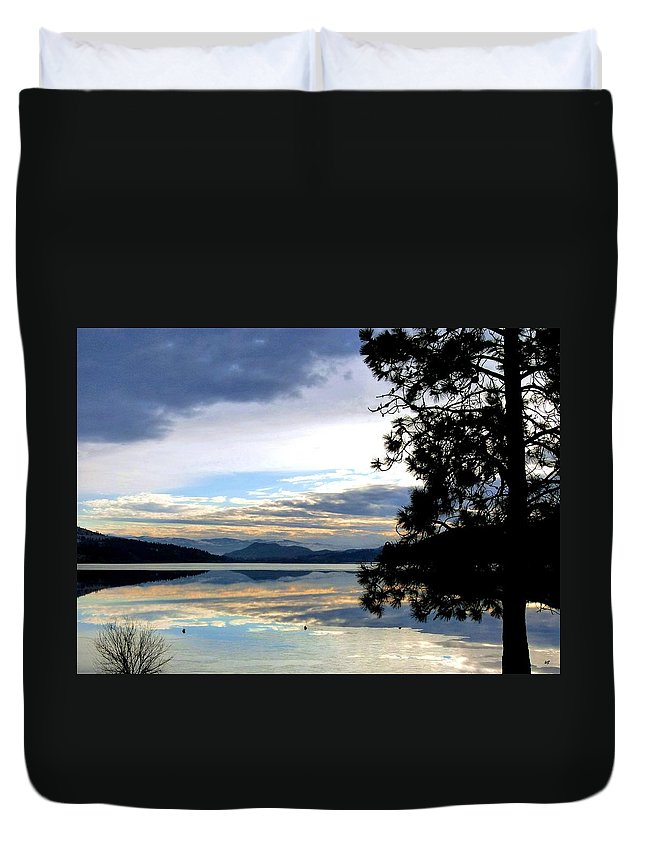 Wood Lake Duvet Cover featuring the photograph Mirror Image Sunset by Will Borden