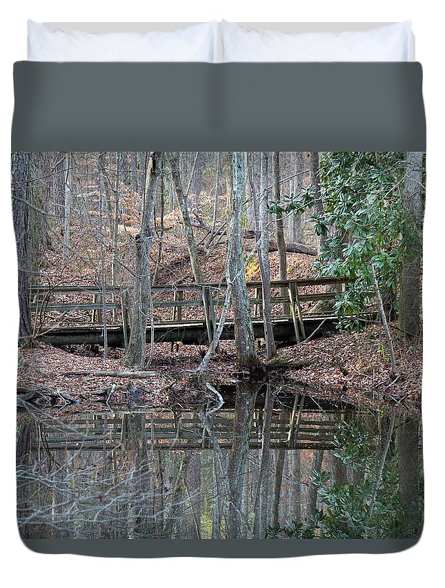 Water Duvet Cover featuring the photograph Mirrored Bridge by David Campbell