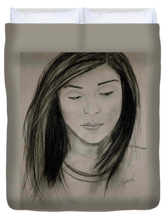 Portrait Duvet Cover featuring the drawing Missing You by Michael Brennan