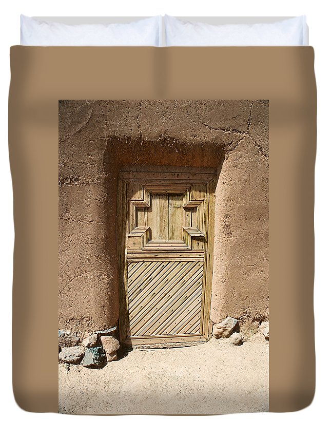 Santa Fe Duvet Cover featuring the photograph Mission Door by Ron Weathers