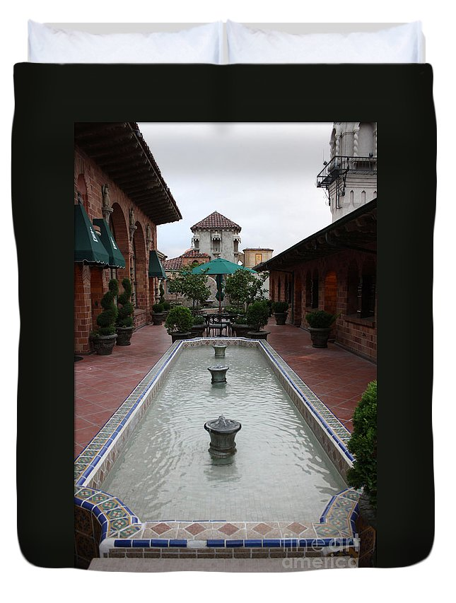 Mission Inn Duvet Cover featuring the photograph Mission Inn Roof Top Pond by Tommy Anderson
