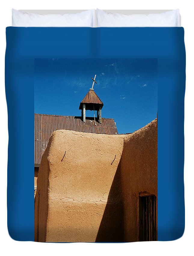 Santa Fe Duvet Cover featuring the photograph Mission Wall by Ron Weathers