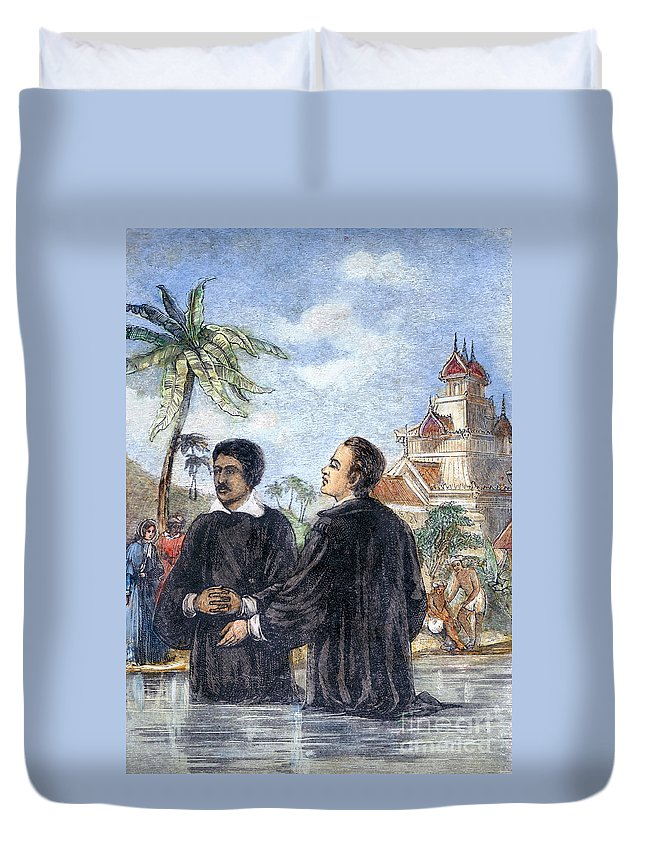 19th Century Duvet Cover featuring the photograph Missionaries: Baptism by Granger