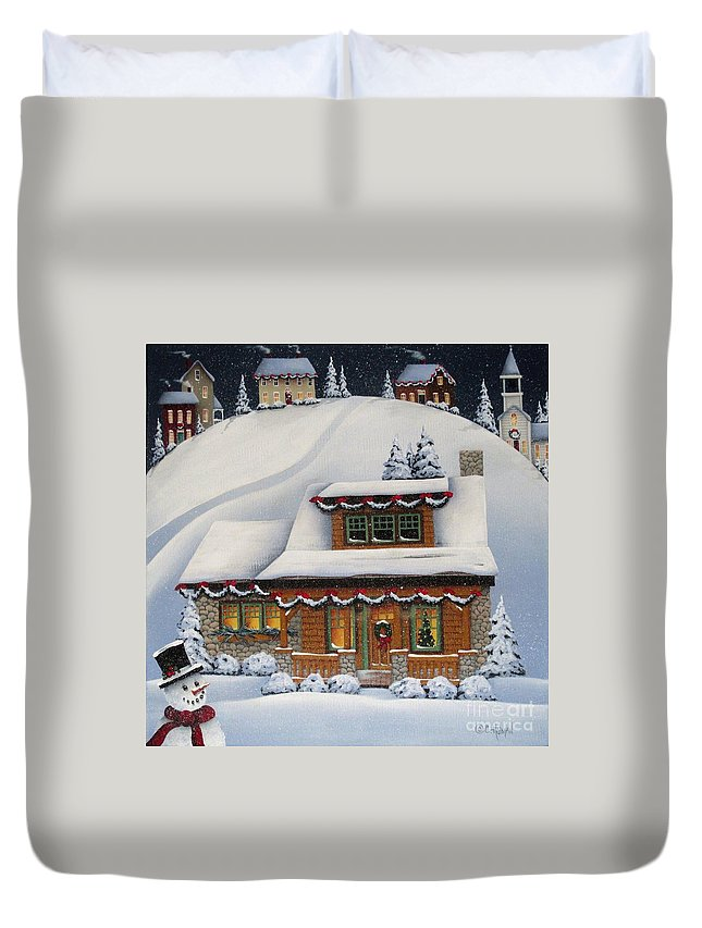 Art Duvet Cover featuring the painting Mistletoe Cottage by Catherine Holman