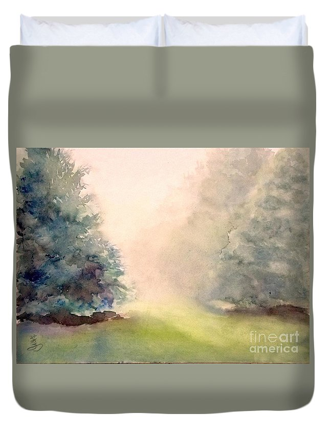 Landscape Duvet Cover featuring the painting Misty Morning 2 by Yoshiko Mishina