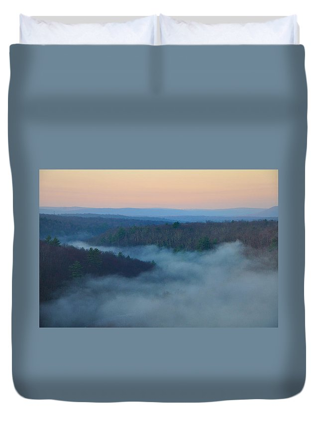 Misty Duvet Cover featuring the photograph Misty Mountain Hop by Bill Cannon