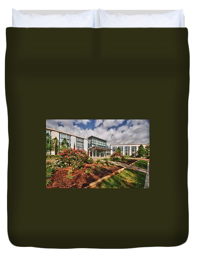 Duvet Cover featuring the digital art Mitchell Cancer Center by Michael Thomas