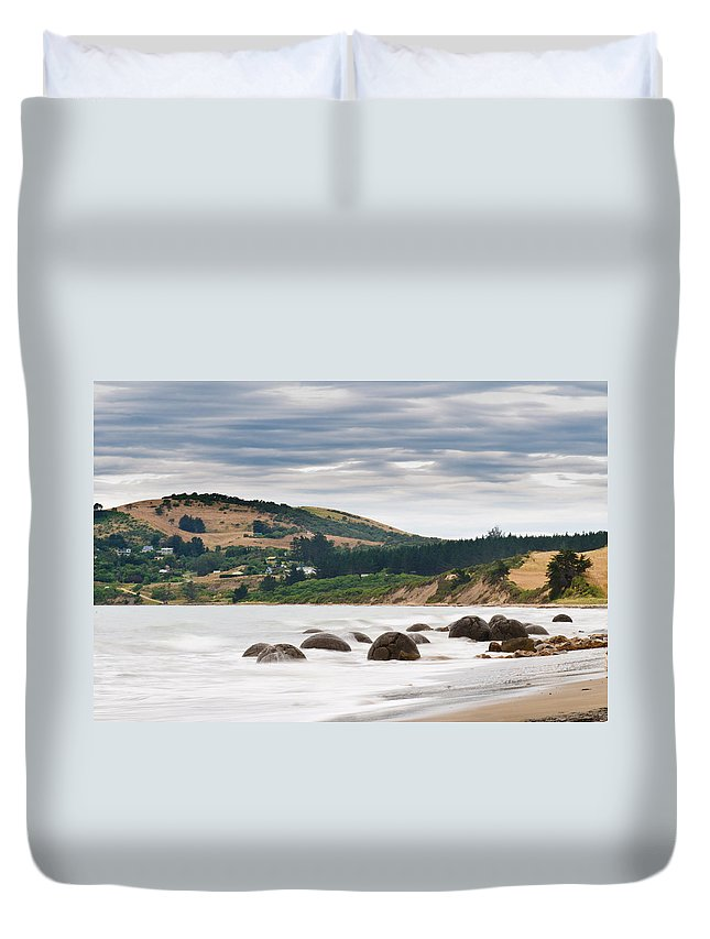 Balls Duvet Cover featuring the photograph Moeraki Boulder East Coast Of South New Zealand  by U Schade