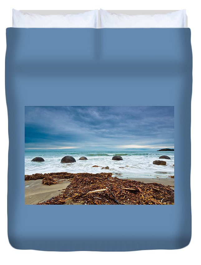 Balls Duvet Cover featuring the photograph Moeraki Boulder East Coast Of South New Zealand by U Schade