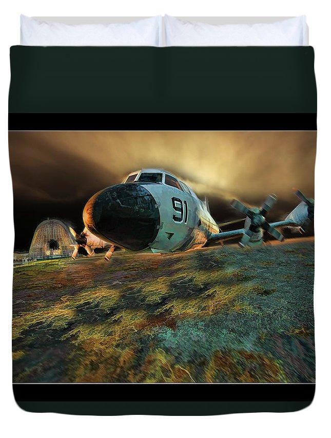 Moffett Field's hangar One Duvet Cover featuring the photograph Moffett Field Landing by Blake Richards