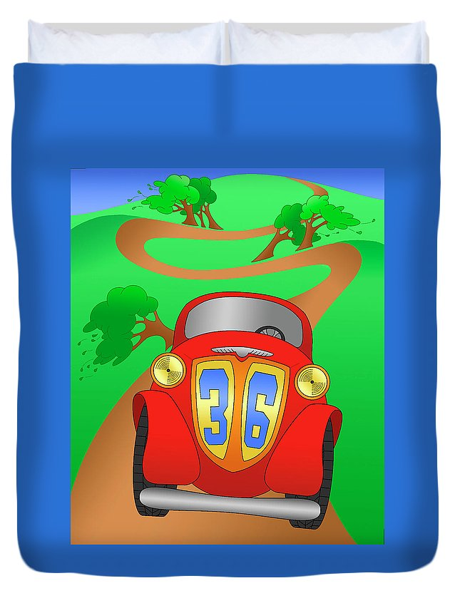 Racing Car Duvet Cover featuring the digital art Momemtum by Alison Stein