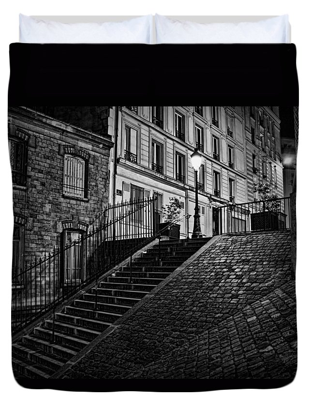 Montmartre After Dark Duvet Cover featuring the photograph Montmartre After Dark by Wes and Dotty Weber