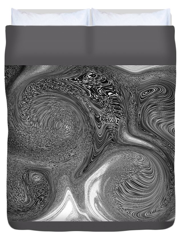 Abstract Duvet Cover featuring the digital art Mono Swirl Abstract by David Pyatt