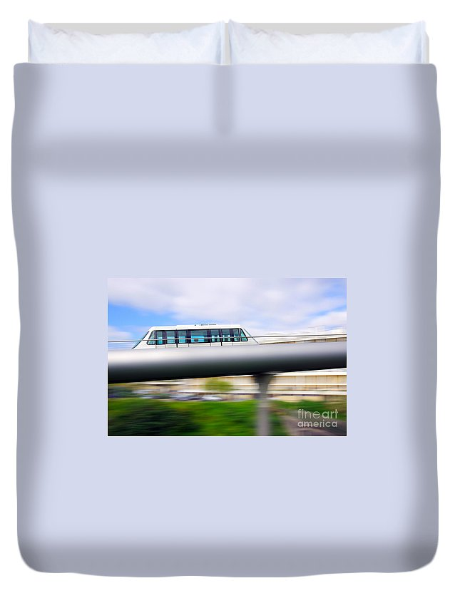 Blue Duvet Cover featuring the photograph Monorail Carriage by Carlos Caetano