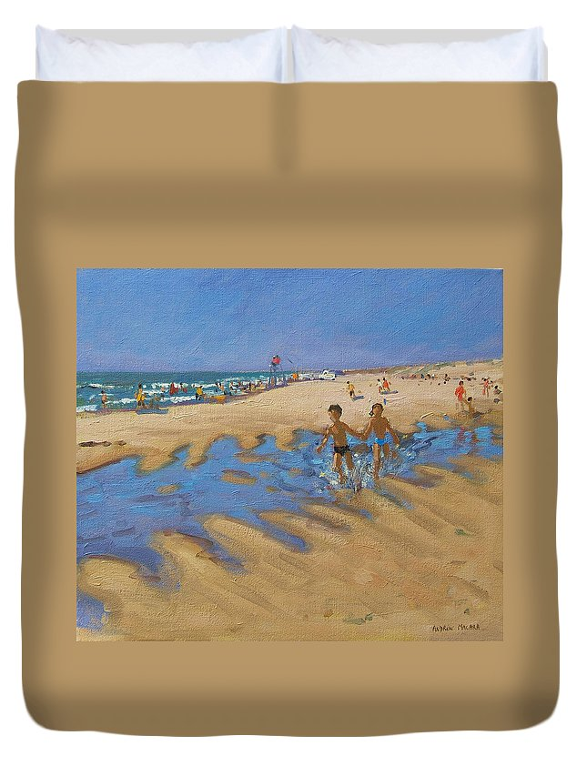 Seaside Duvet Cover featuring the painting Montalivet France by Andrew Macara