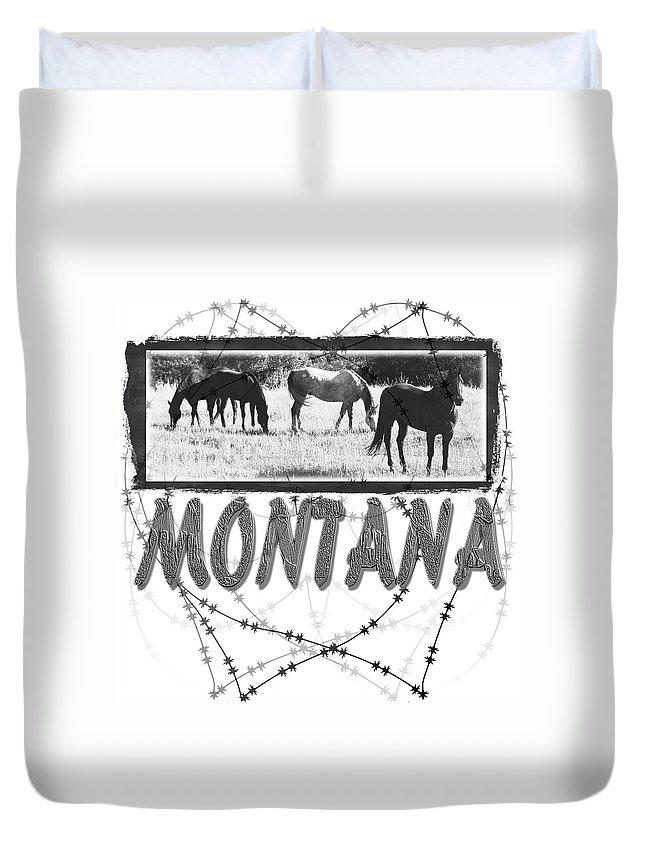 Montana Art Duvet Cover featuring the digital art Montana Horse Design by Susan Kinney