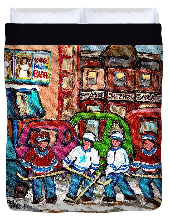Montreal Bagels And Hockey Duvet Cover featuring the painting Montreal Bagels And Hockey by Carole Spandau