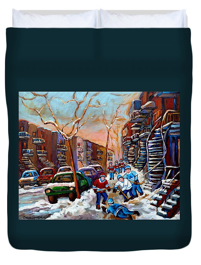Montreal Duvet Cover featuring the painting Montreal Hockey Paintings by Carole Spandau
