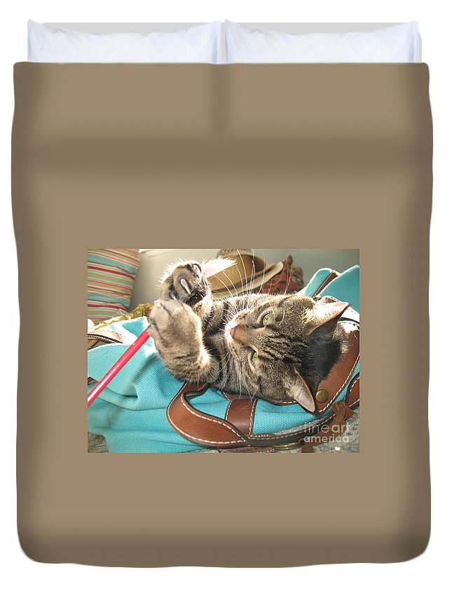 Cat Duvet Cover featuring the photograph Monty Holding Paintbrush .. by Jolanta Anna Karolska