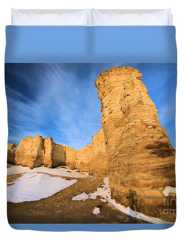 Monument Rocks Duvet Cover featuring the photograph Monument Rocks In Kansas by Adam Jewell