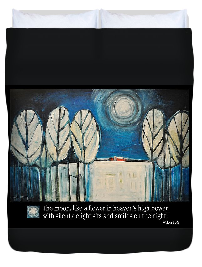 Moon Duvet Cover featuring the painting Moon Quote Poster by Tim Nyberg