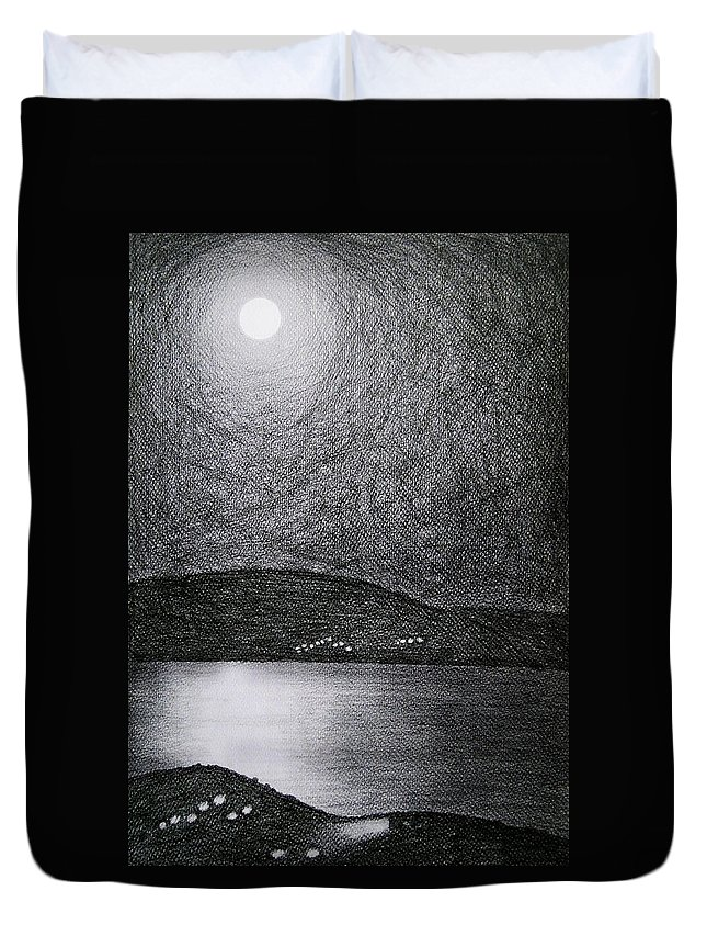 Moon Duvet Cover featuring the drawing Moon Reflection On The Sea by Ana Leko Nikolic