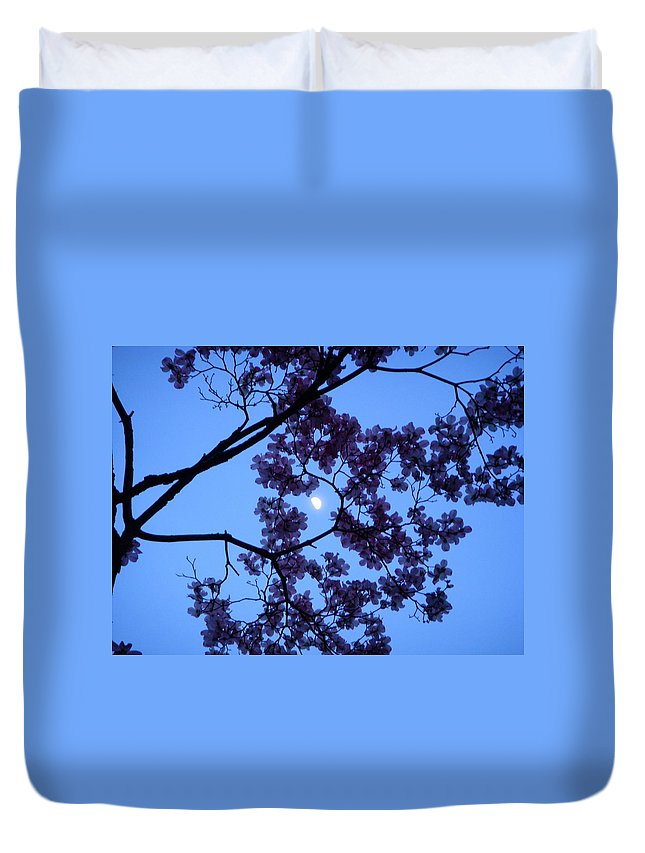 Moon Duvet Cover featuring the photograph Moon Through Dogwood by Aimee L Maher ALM GALLERY