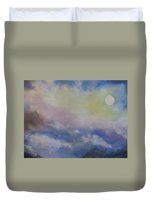 Light Duvet Cover featuring the painting Moonlight by Karen Stark